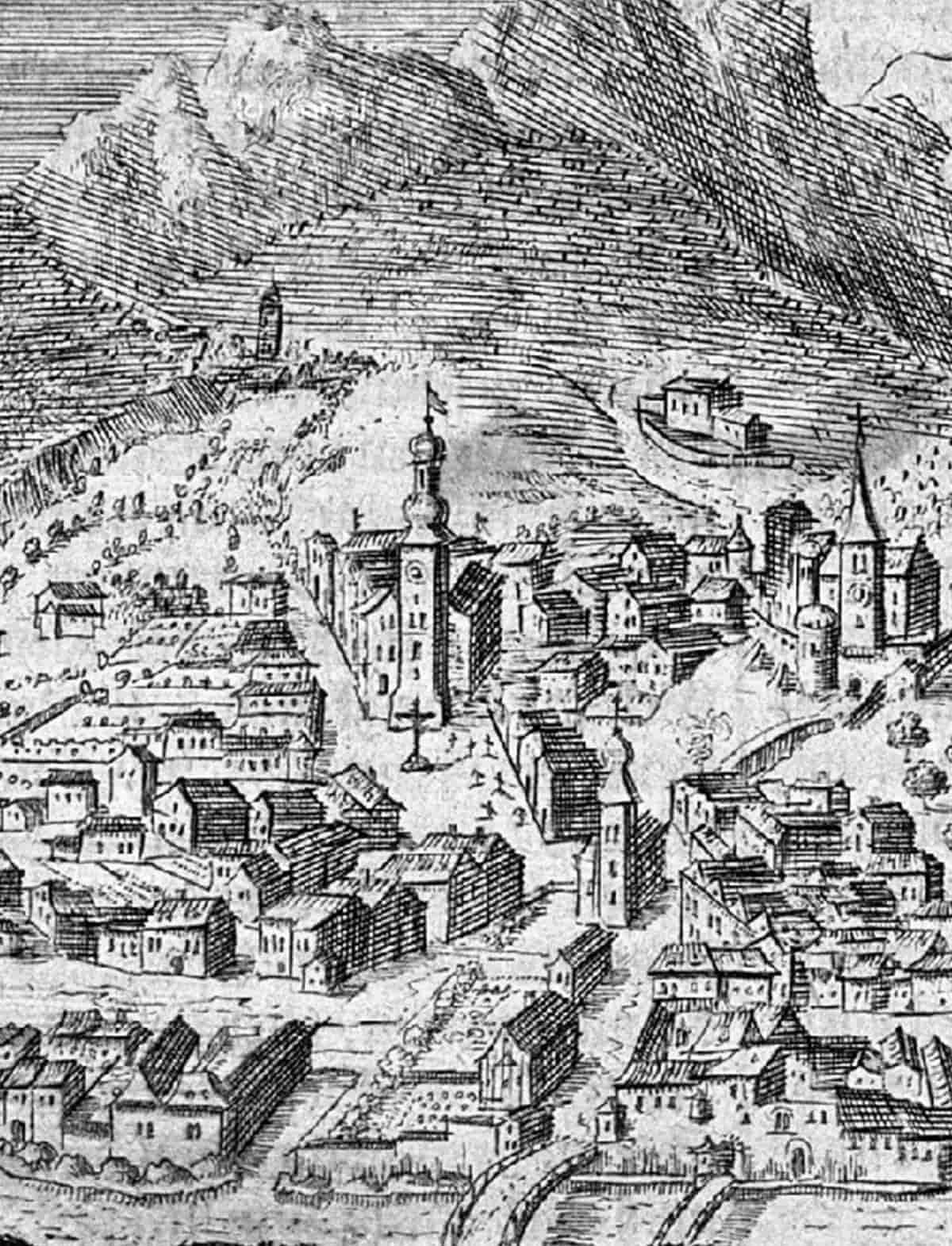 Stadtbild in schwarz-weiß gezeichnet